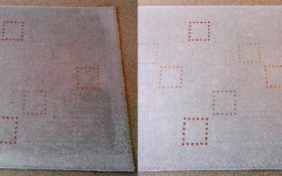 Tepovanie kobercov Pezinok - porovnanie očisteného a špinavého behúňa.