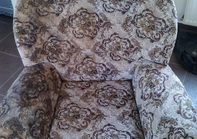 Tepovanie sedačiek Pezinok - kreslo, pred a po tepovaní.